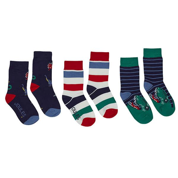 Joules Brilliant Bamboo Multi Dinos 3 Pack of Intarsia Socks