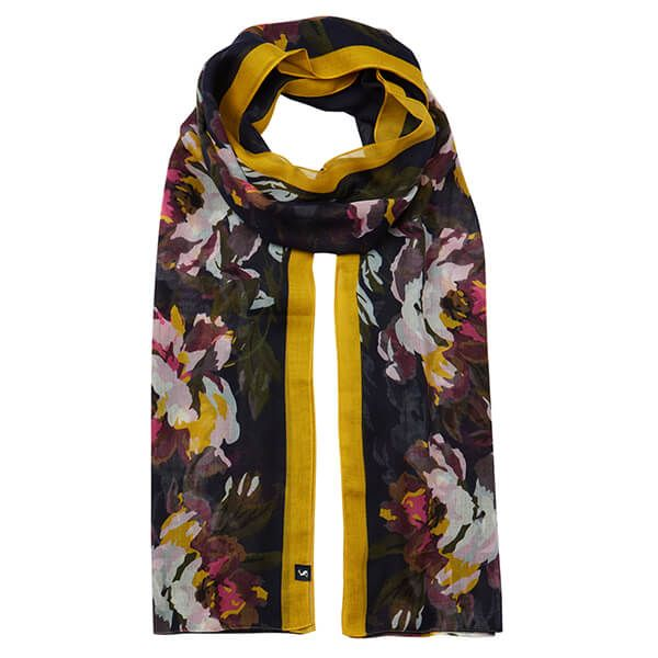 Joules Wensley Navy Floral Border Printed Scarf