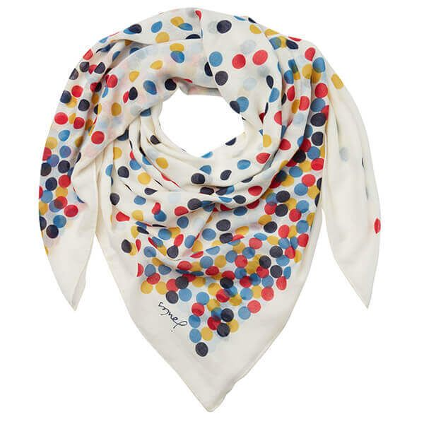 Joules Atmore Cream Spots Printed Square Scarf