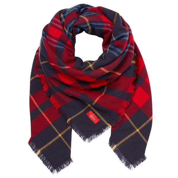 Joules Heyford Navy Check Oversized Square Check Scarf