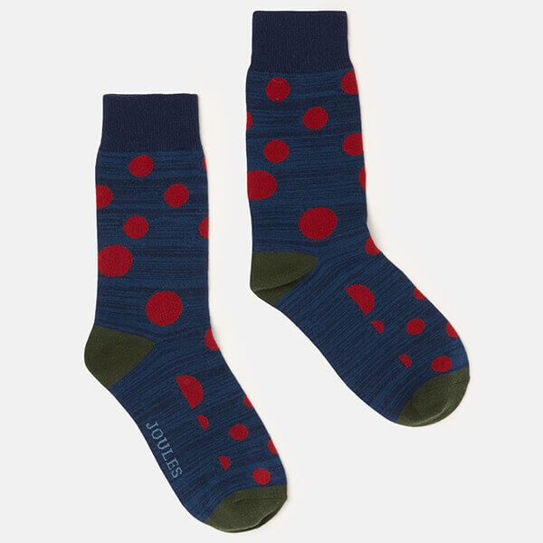 Joules Striking Single Blue Red Spot Cotton Pair Of Socks Size 7-12