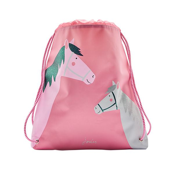 Joules Active Pink Horses Drawstring Bag
