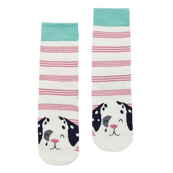 Joules Neat Feet Pink Stripe Dalmatian Character Intarsia Socks