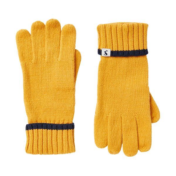 Joules Snowday Antique Gold Knitted Gloves