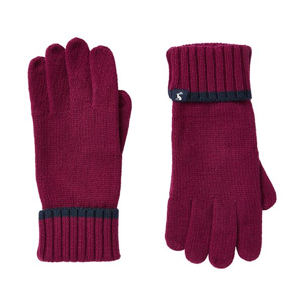 Joules Snowday Berry Blush Knitted Gloves