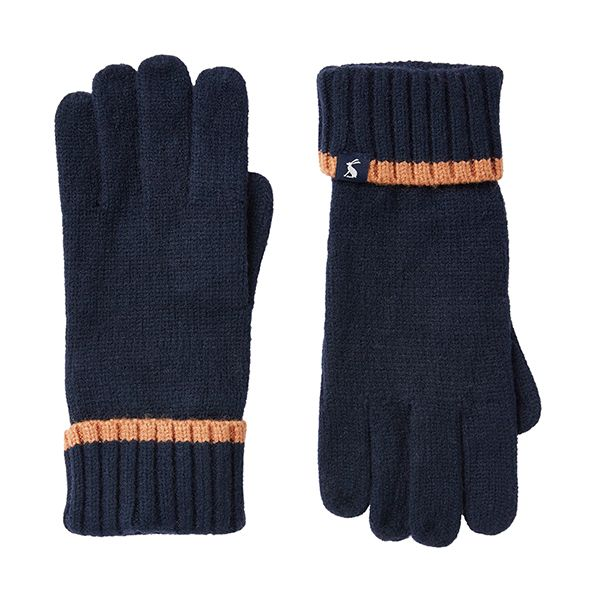 Joules Snowday French Navy Knitted Gloves