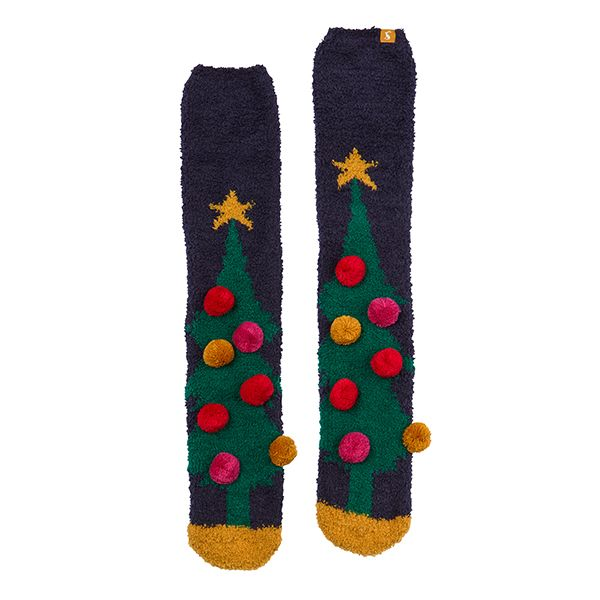 Joules Christmas Fluffy Navy Xmas Tree Socks Size 4-8