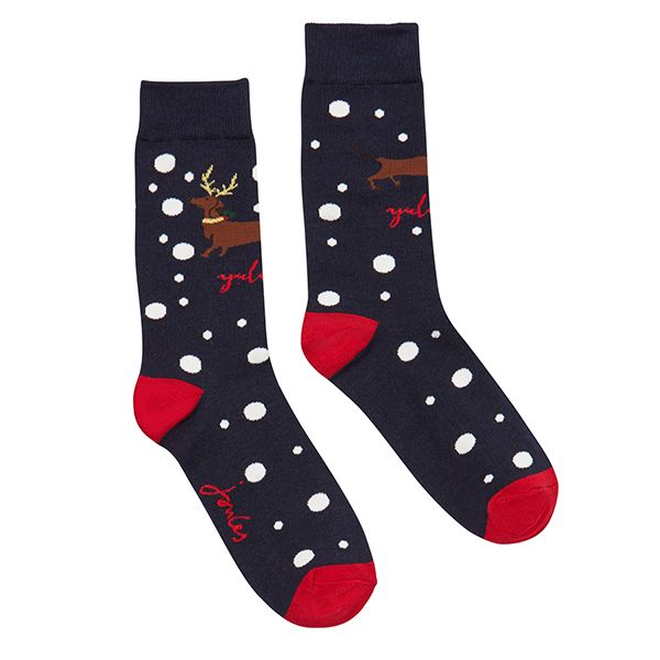 Joules Christmas Bamboo Single Navy Xmas Dog Socks Size 4-8