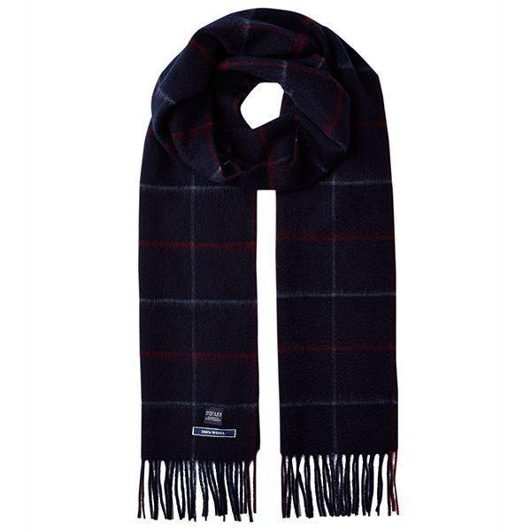 Joules Tytherton Dark Blue Check Wool Checked Scarf