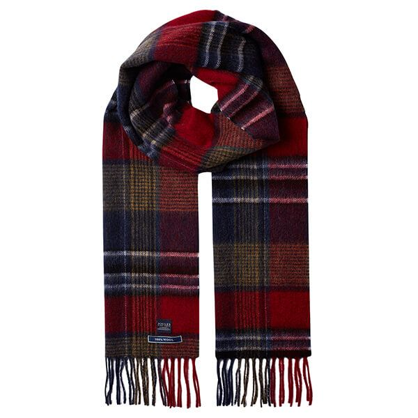 Joules Tytherton Red Navy Check Wool Checked Scarf