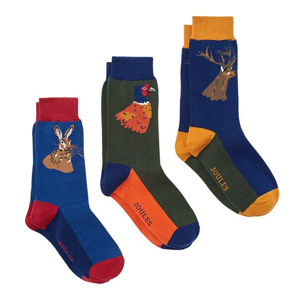 Joules Striking 3 Pack Game Animal Multi Ankle Sock Set Size 7-12