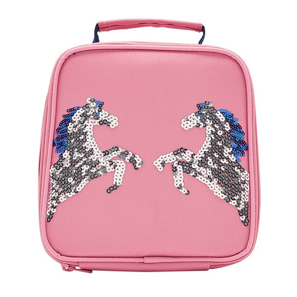 Joules Munch Pink Sequin Horse Girls Lunch Bag