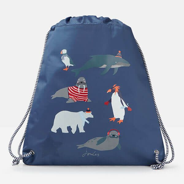 Joules Active Blue Antarctic Animals Drawstring Bag