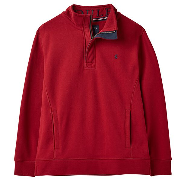 Joules Deckside Deep Red Half Zip Sweatshirt