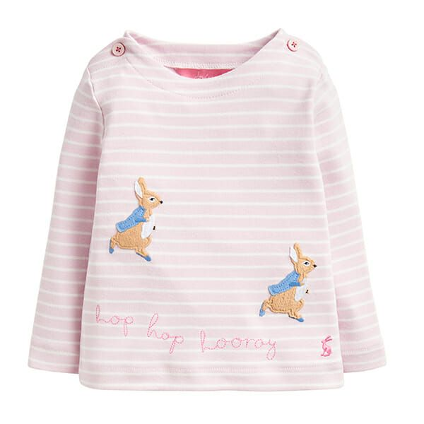 Joules Harriet Pink Stripe Hopping Peter Applique Top