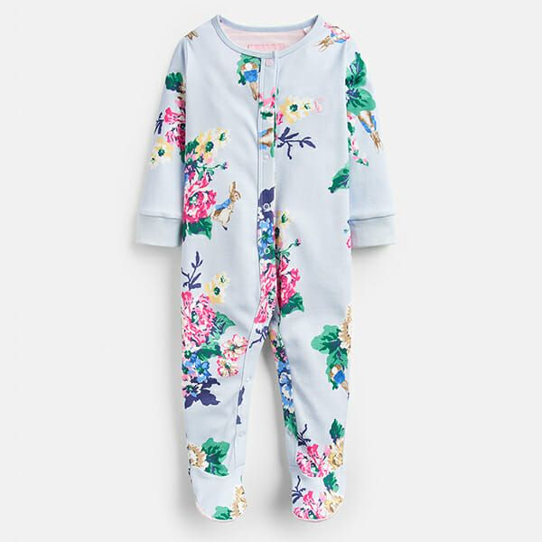 Joules Razamataz Light Blue Rabbit Floral Printed Babygrow
