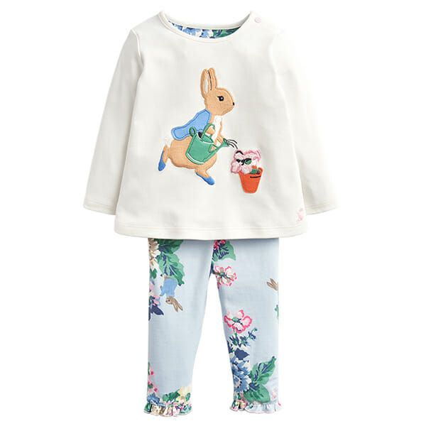 Joules Poppy Cream Gardening Peter Rabbit Applique Top And Trouser Set