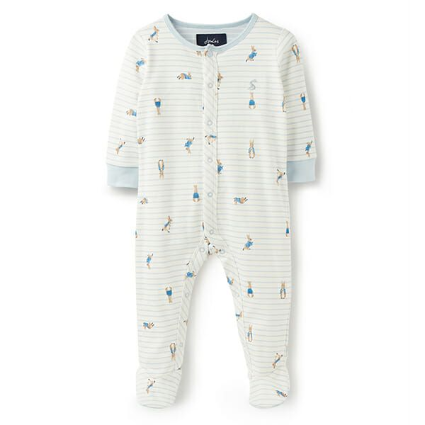 Joules Ziggy Cream Stripe Peter Rabbit Printed Babygrow With Feet