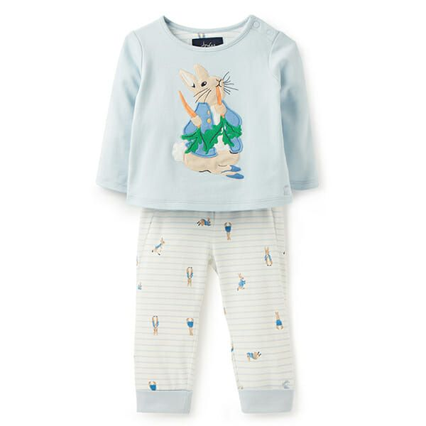 Joules Byron Blue Peter Rabbit Applique Top And Trouser Set