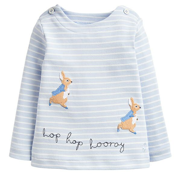 Joules Hoppy Blue Stripe Peter Rabbit Jersey Applique Top
