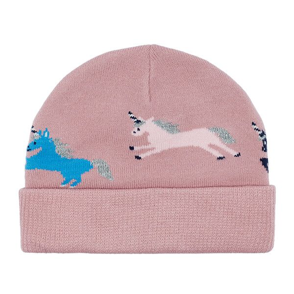 Joules Neddy Pink Unicorns Intarsia Hat