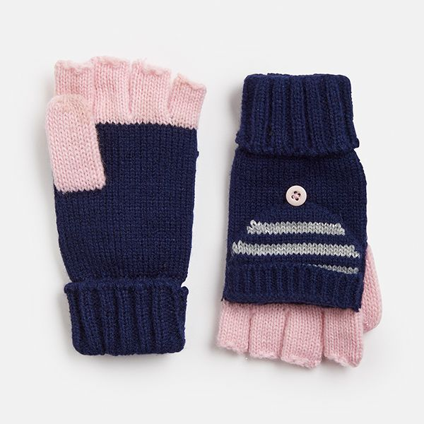 Joules Navy Stripe Converter Gloves