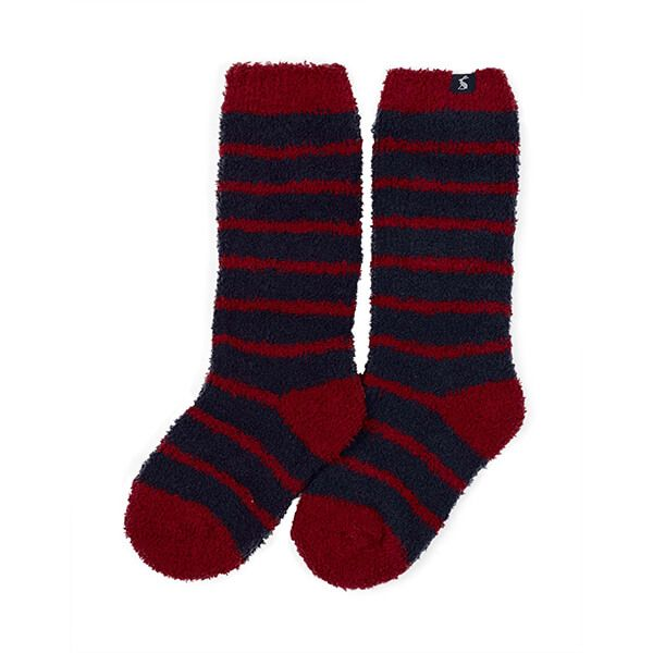 Joules Fab Fluffy Navy Red Stripe Fluffy Socks