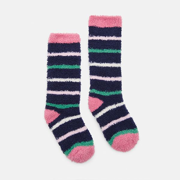 Joules Fluffy Navy Stripe Socks