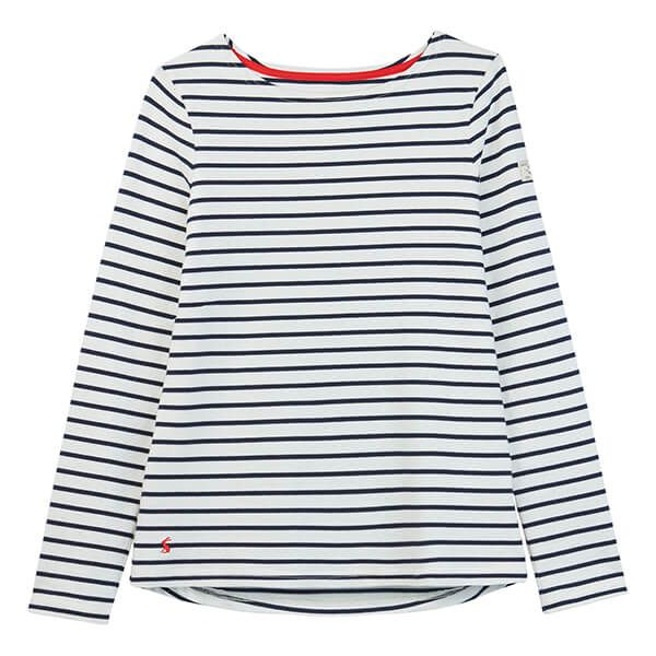 Joules Harbour Cream Navy Stripe Long Sleeve Jersey Top