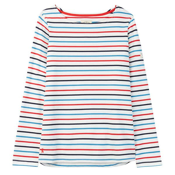 Joules Harbour Cream Navy Red Blue Long Sleeve Jersey Top