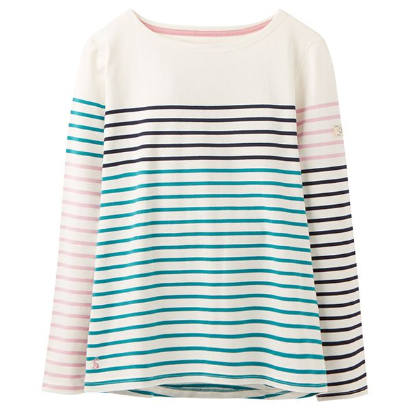 Joules Harbour Cream Navy Multi Stripe Long Sleeve Jersey Top