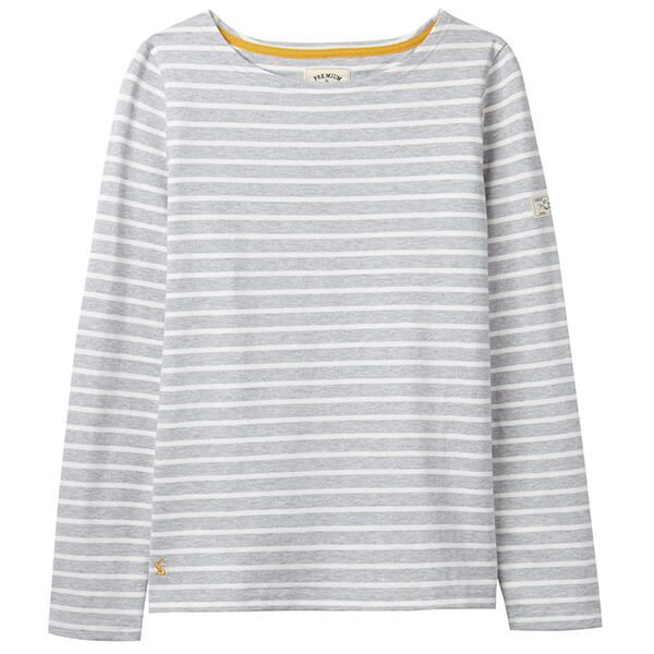 Joules Harbour Grey Stripe Long Sleeve Jersey Top