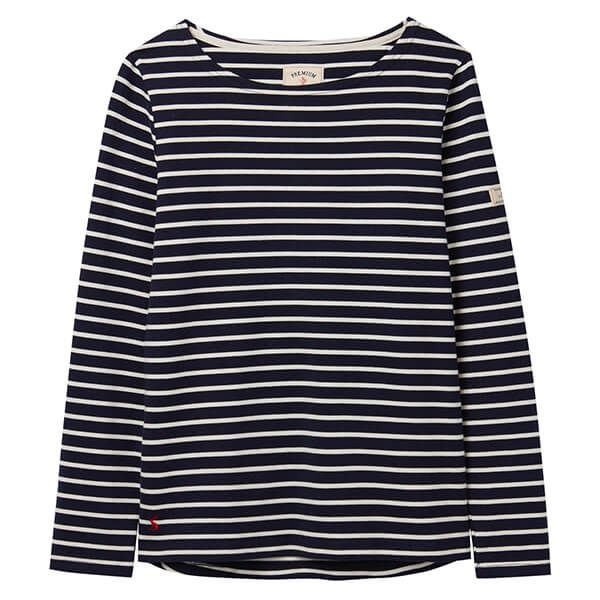 Joules Harbour Navy Cream Stripe Long Sleeve Jersey Top