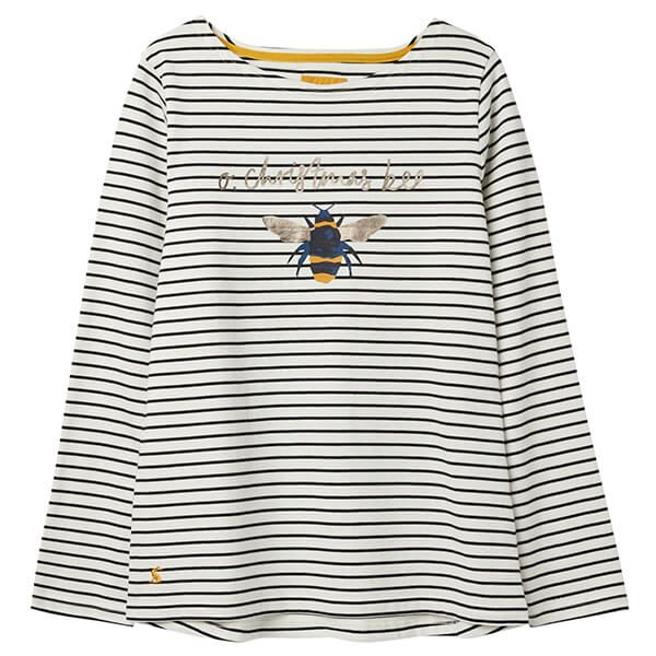 Joules Harbour Print Cream Bee Stripe Long Sleeve Jersey Top