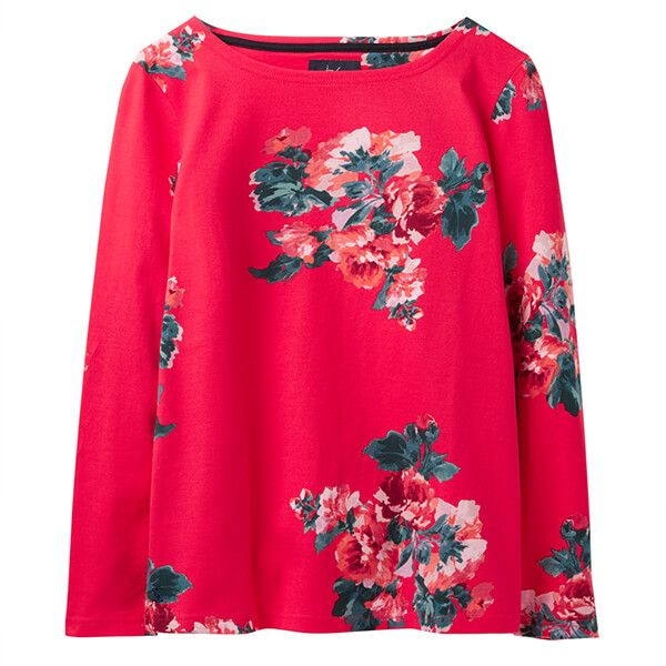 Joules Harbour Print Red Floral Long Sleeve Jersey Top