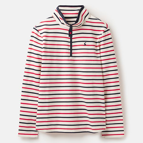 Joules Fairdale Cream Blue Red Stripe Sweatshirt With Zip Neck