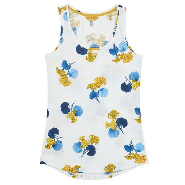 Joules Bo Print Cream Lilypad Floral Jersey Vest