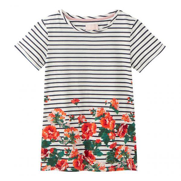 Joules Nessa Print Cream Rose Border Lightweight Jersey T-Shirt