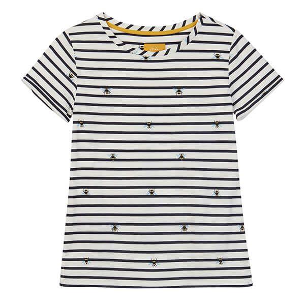 Joules Nessa Print Cream Stripe Bee Lightweight Jersey T-Shirt