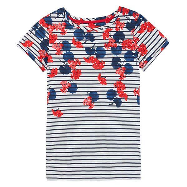 Joules Nessa Print Lilypad Border Stripe Lightweight Jersey T-Shirt