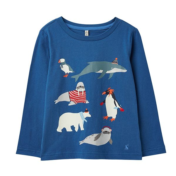 Joules Raymond Blue Antarctic Animals Glow In The Dark T-Shirt