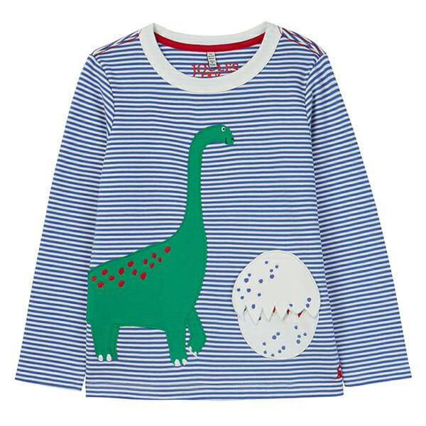 Joules Chomp Blue Dino Egg Applique T-Shirt