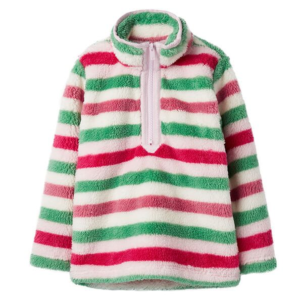 Joules Merridie Pink Multi Stripe Half Zip Fleece