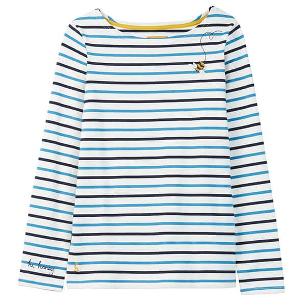 Joules Harbour Buzzing Bee Stripe Long Sleeve Embroided Jersey Top
