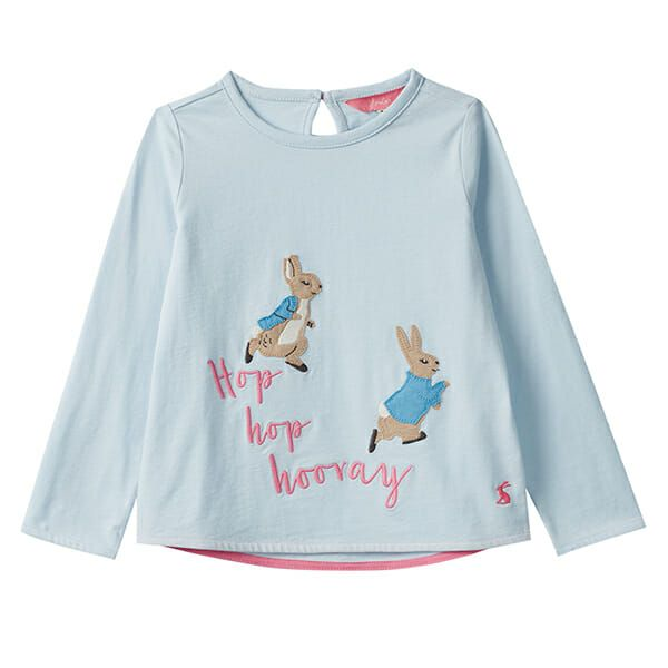 Joules Ava Blue Hopping Peter Rabbit Applique Tee