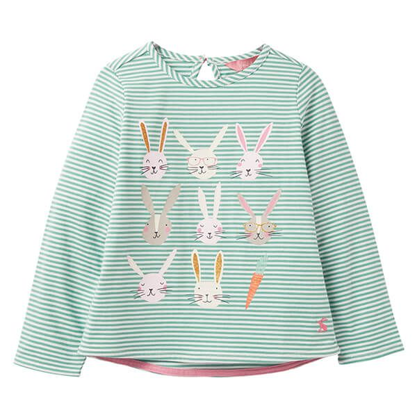 Joules Bessie Green Stripe Bunnys Screen Print Tee