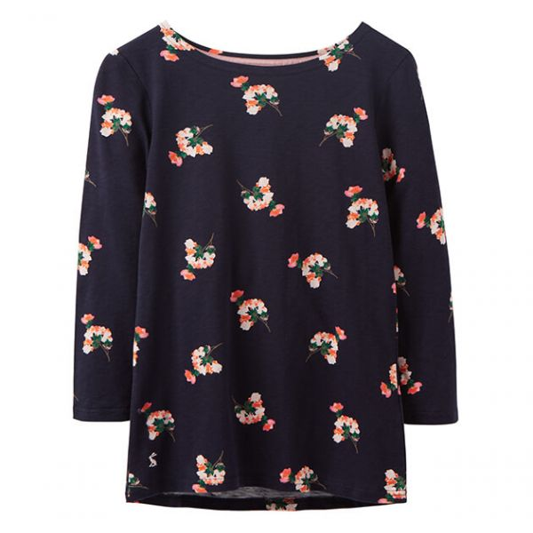 Joules Harbour Light Navy Posy Printed Full Length Sleeve Jersey Top
