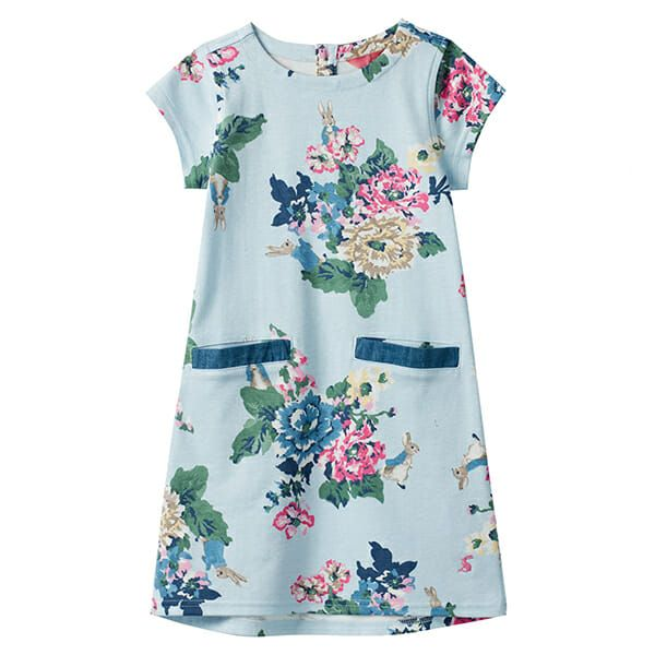 Joules Patch Light Blue Peter Rabbit Floral Pocket Dress