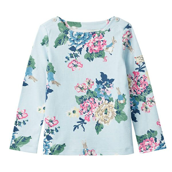 Joules Harbour Print Light Blue Peter Rabbit Floral Printed Harbour Top
