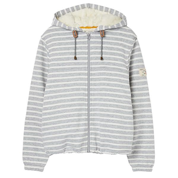 Joules Joanna Stripe Grey Stripe Zip Through Fleece Lined Hoodie